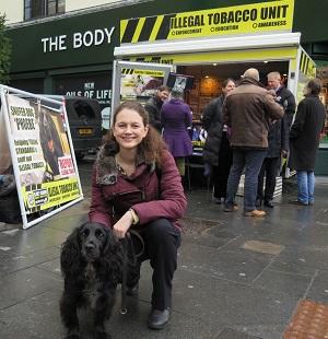 Cllr Jane Edbrooke with sniffer dog Phoebe in Brixton