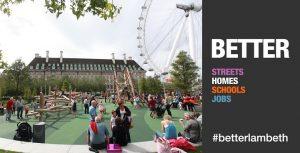 Better Waterloo - People enjoying Jubilee Gardens next to the London Eye