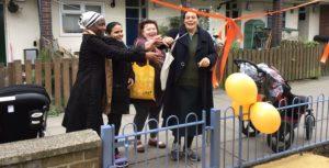 Left to right: Cllr Jennifer Braithwaite, resident Khudeja Khanam, Cllr Annie Gallop, LEAP director Laura McFarlane cut the ribbon at upgraded children's playground at Cowley Estate