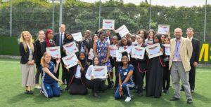 19 x 14-15 yr old girls from Lilian Baylis school graduate from 9-month 'street elite' coaching, mentoring & sports programme. Cllr Brathwaite in centre