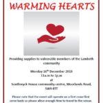 Warming Hearts event poster Dec 2019