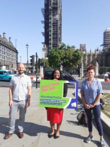 Cllr Ed Davie, Cllr Claire Holland and Ribeiro-Addy MP