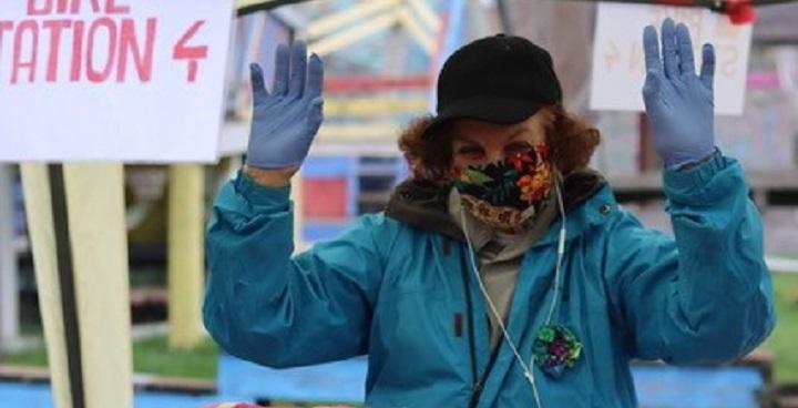 Clare Dean senior cyclist champion Slade Gardens charity fundraiser