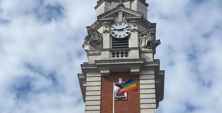 progress flag flies at the town hall